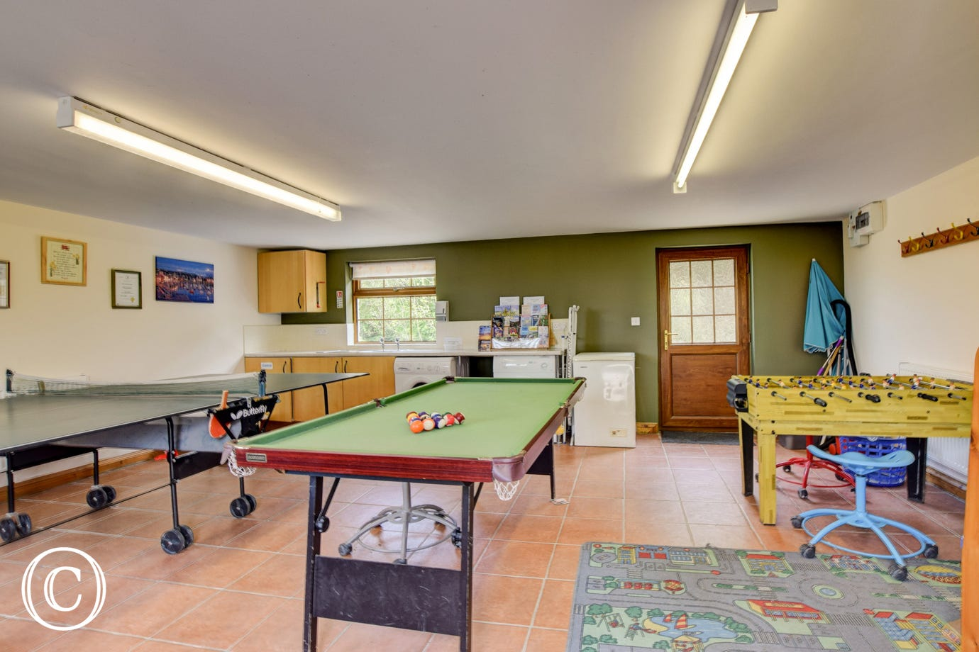 Games room with darts board, snooker table and table tennis facilities