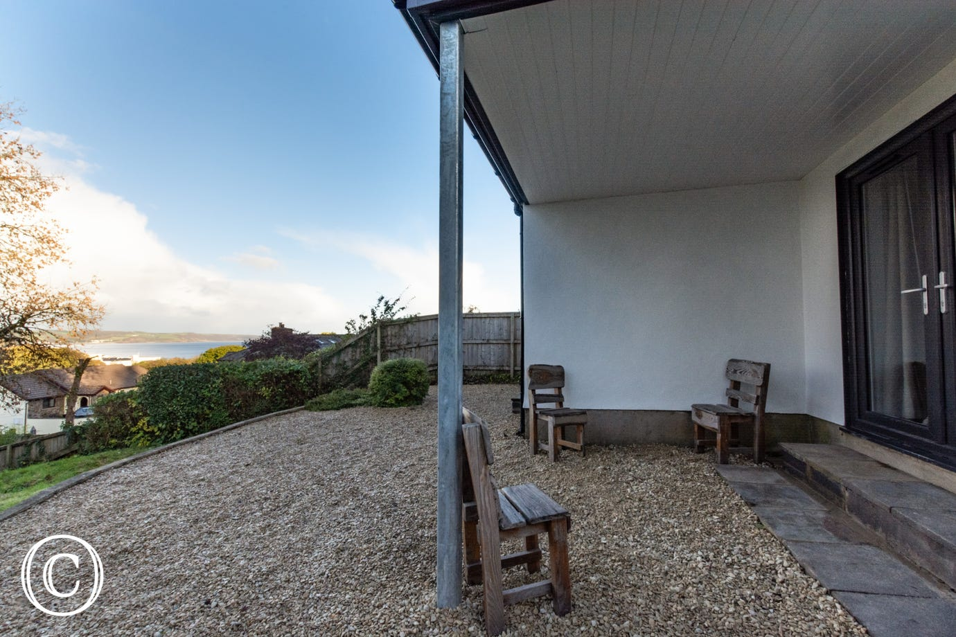 The Retreat Saundersfoot - rear garden with sea views