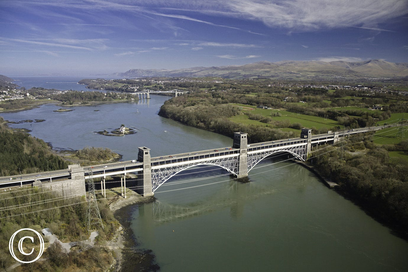 Britannia Bridge and Menai Bridge
