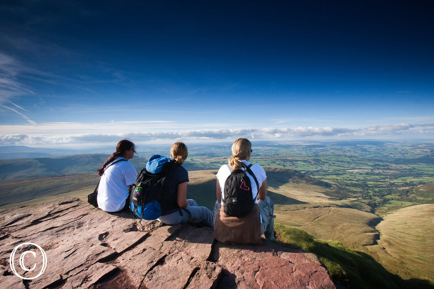 Looking out from one of the many peaks in the Brecon Beacons