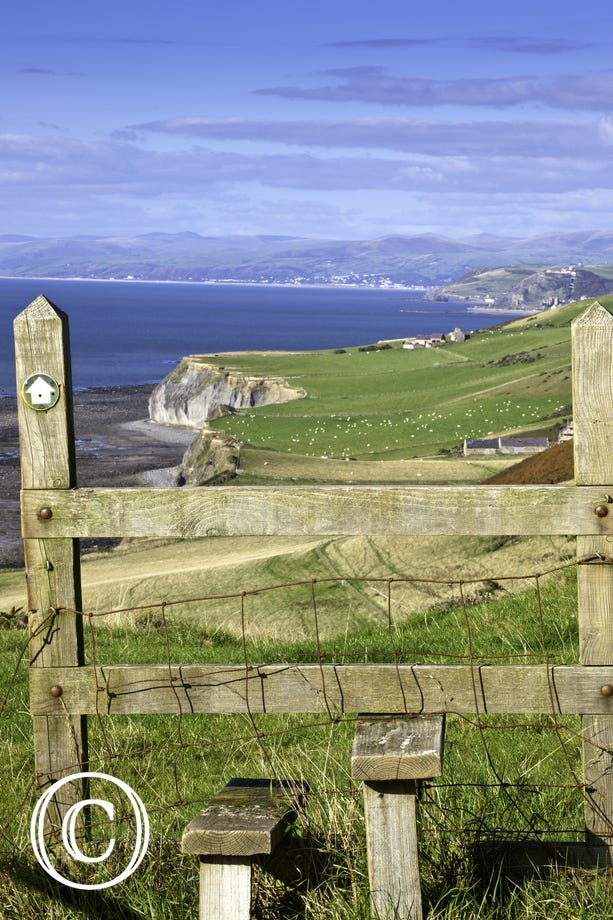 Wales Coast Path - view over stile north towards Aberystwyth