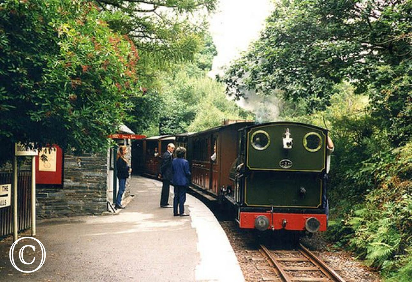 Talyllyn steam train goes from Tywyn, past Dolgoch Falls to Talyllyn