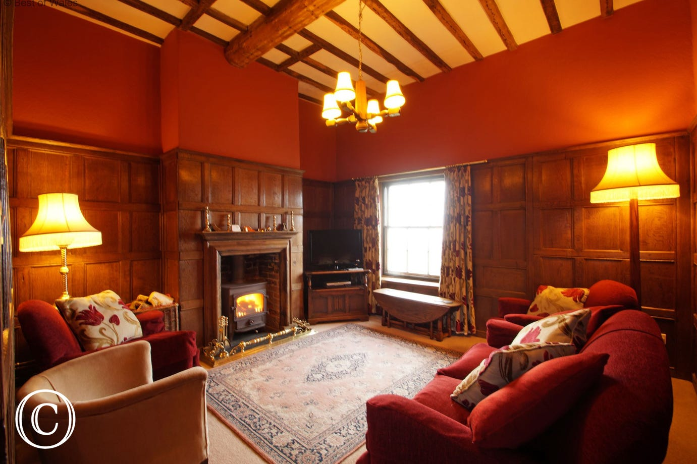 Cosy oak panelled lounge with welcoming woodburner & flat screen TV