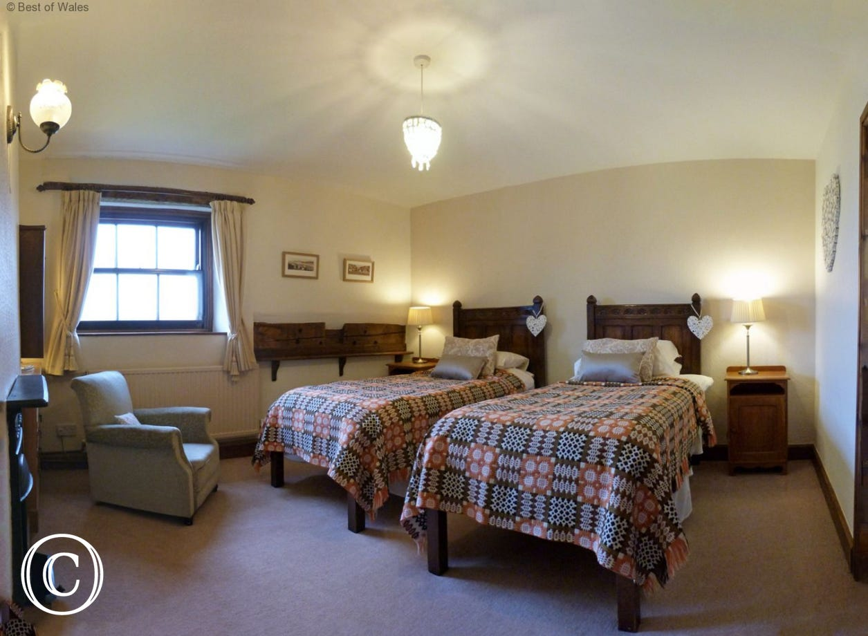 Twin bedroom with two full size single beds and antique furniture