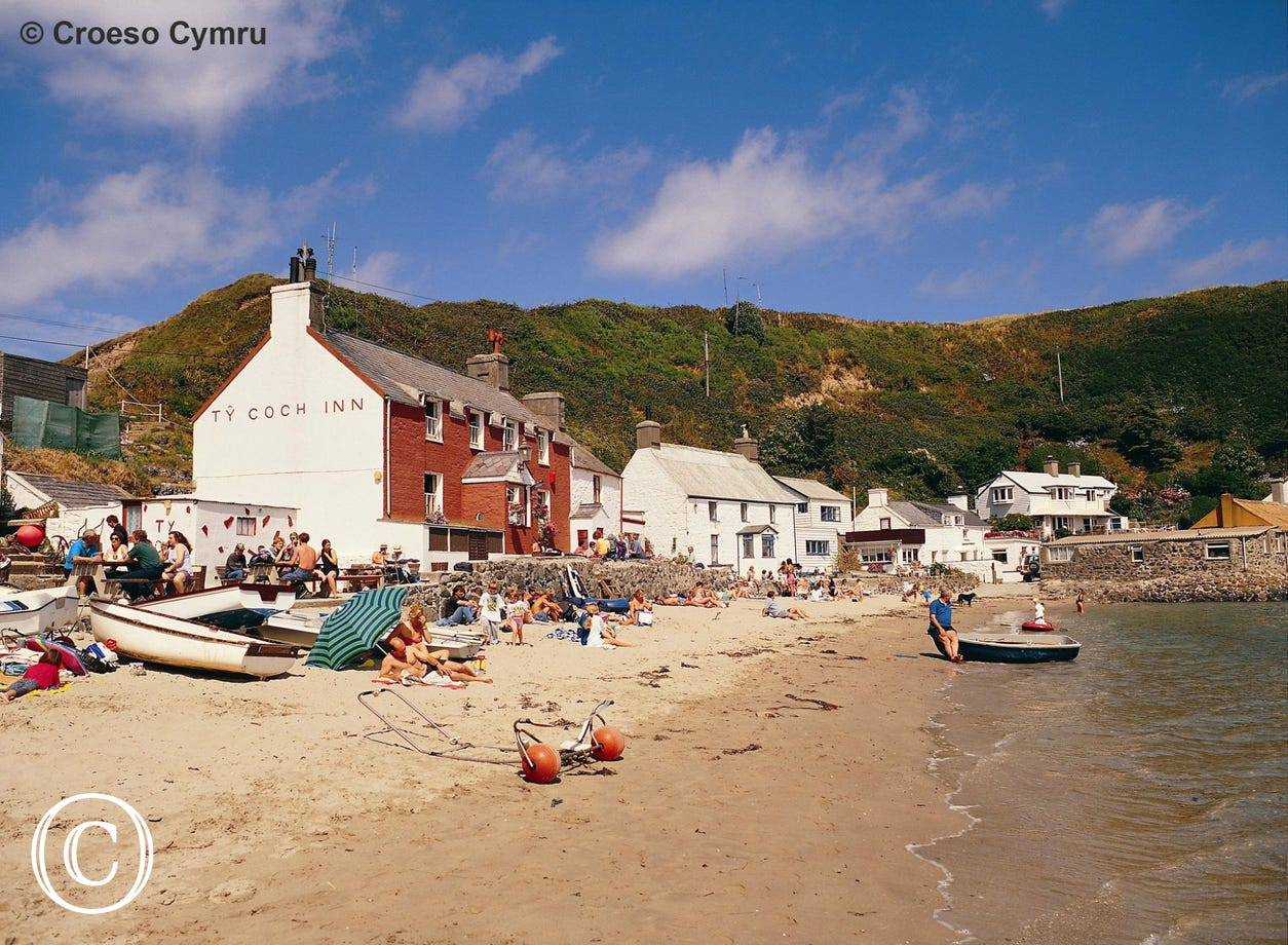 Ty Coch Inn on the beach at Porthdinllaen is well worth a visit