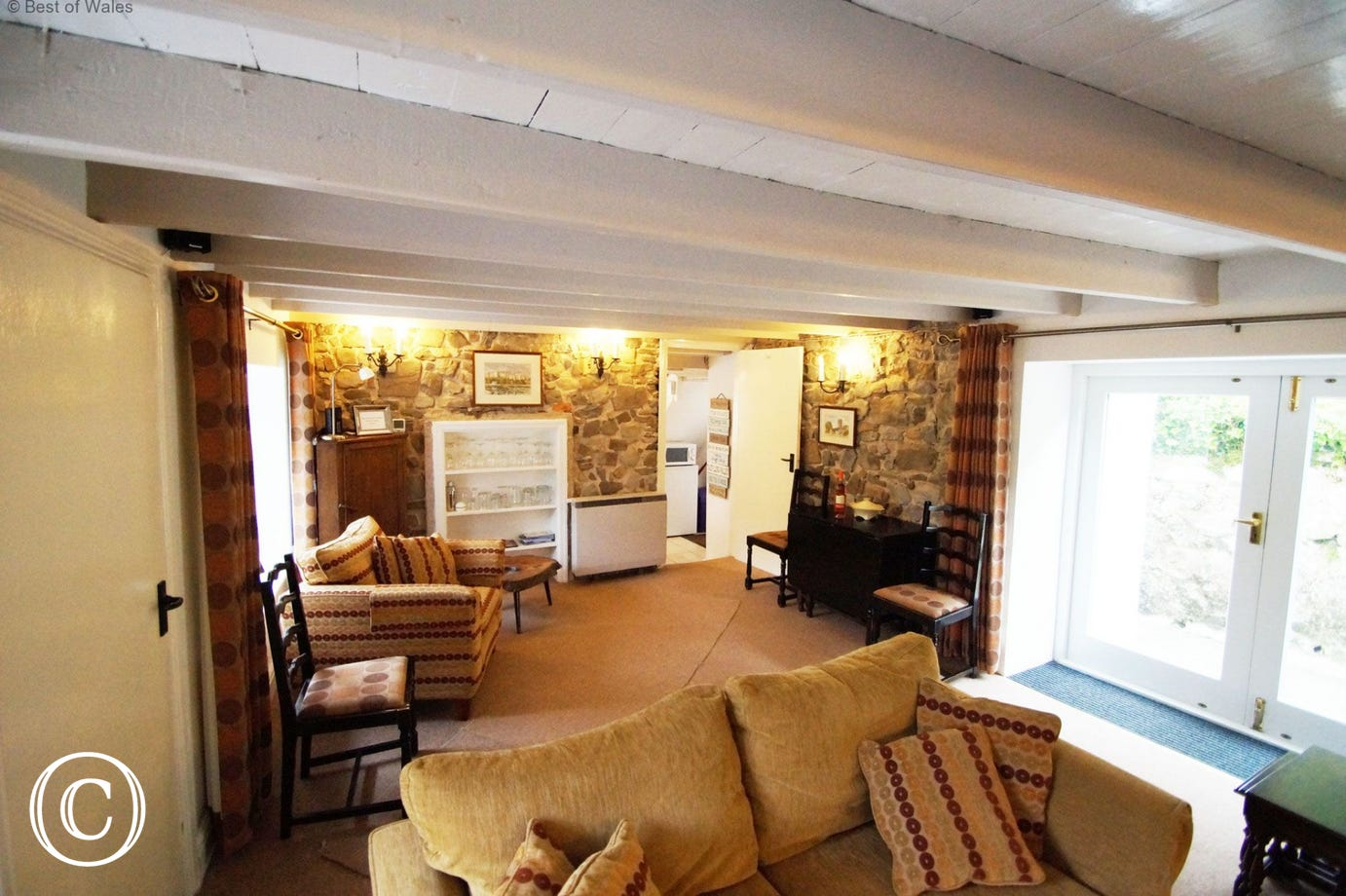Pembrokshire beach cottage - lounge with TV & surround sound