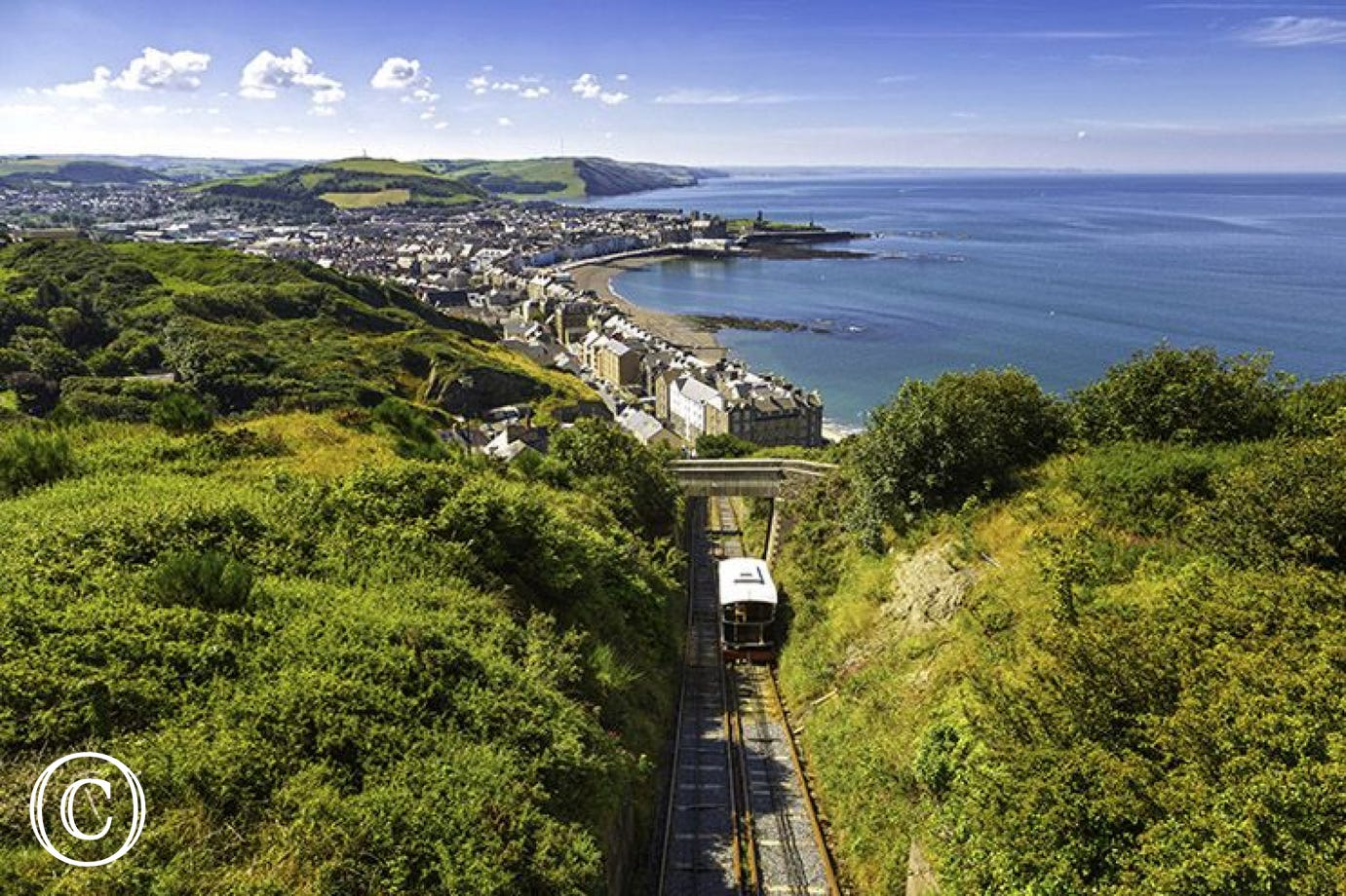 Aberystwyth's Cliff Railway with amazing views over town and coast