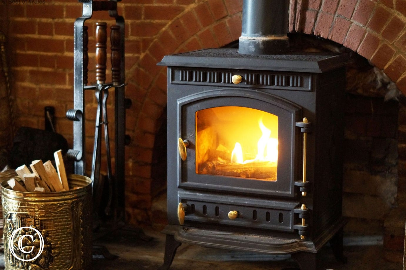 Woodburner in dining room