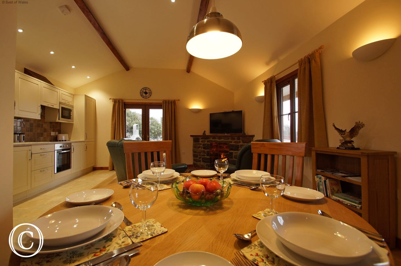Dining area with a traditional style solid Oak Table and chairs