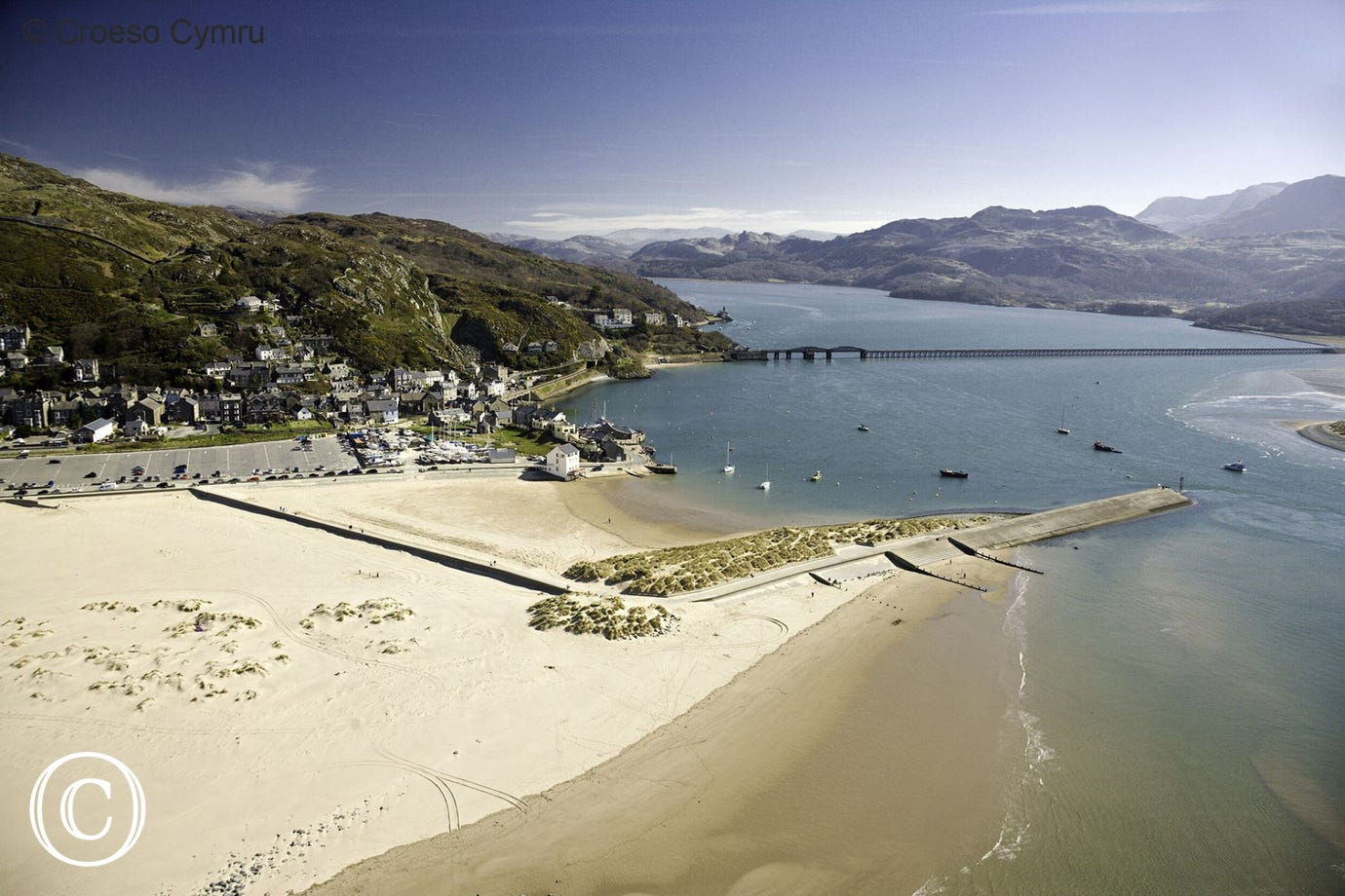 View over Mawddach Estuary and the beautiful Blue Flag beach at Barmouth