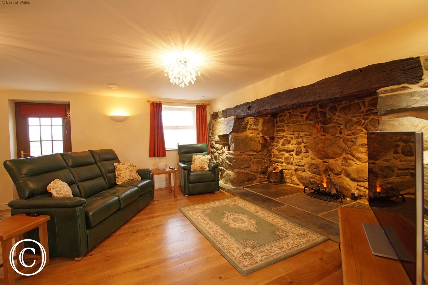 Traditional Welsh farm cottage style with oak flooring and underfloor heating