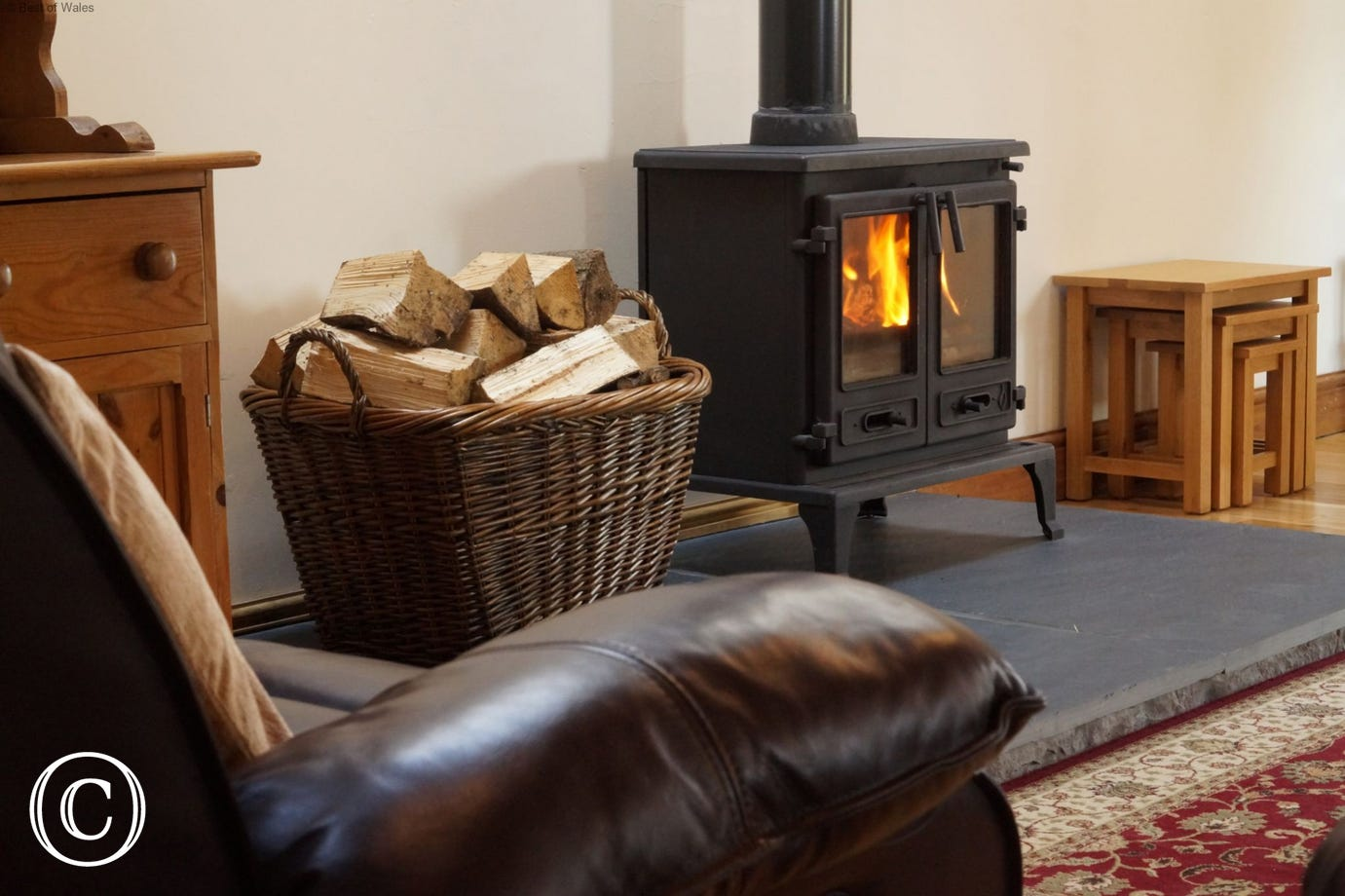 Includes a welcoming woodburner