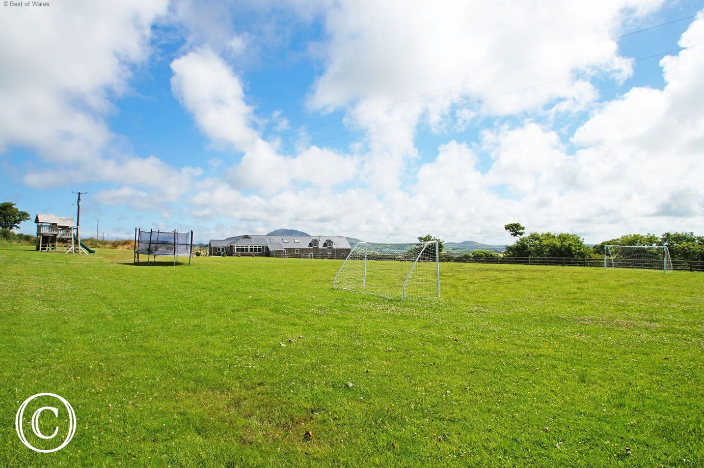 Large play area, surrounded by spectacular views of the Llyn Peninsula.