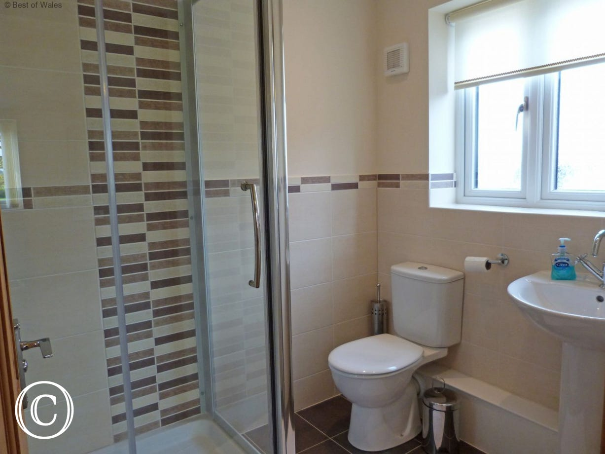 En suite facilities include an enclosed shower cubicle, WC and wash basin.