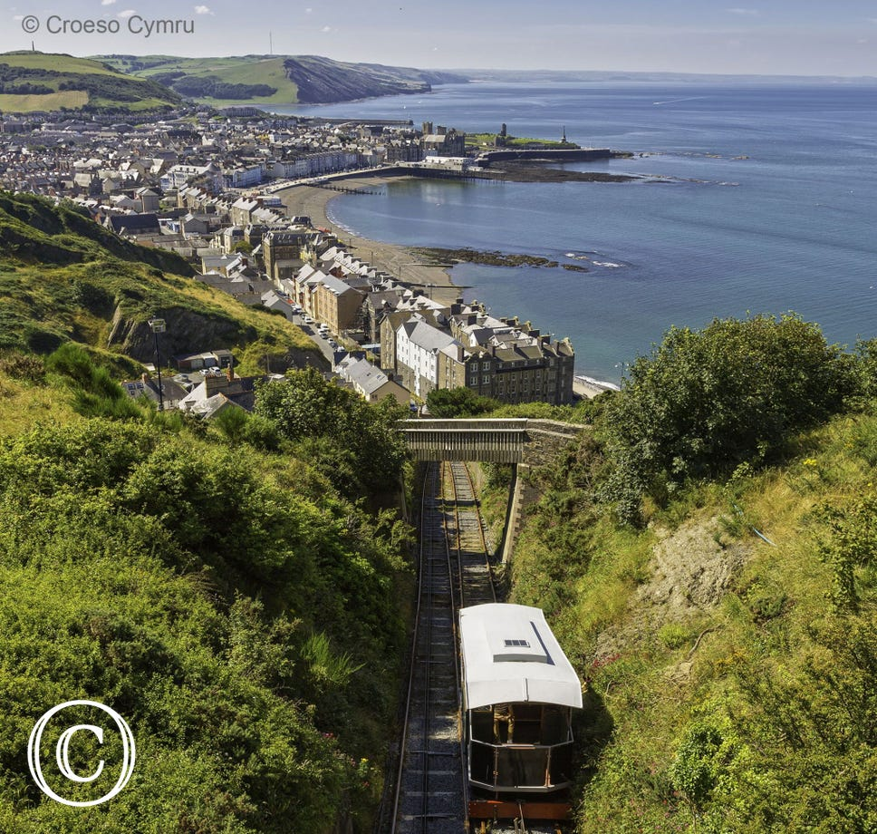Cliff Railway with panoramic views over Aberystwyth