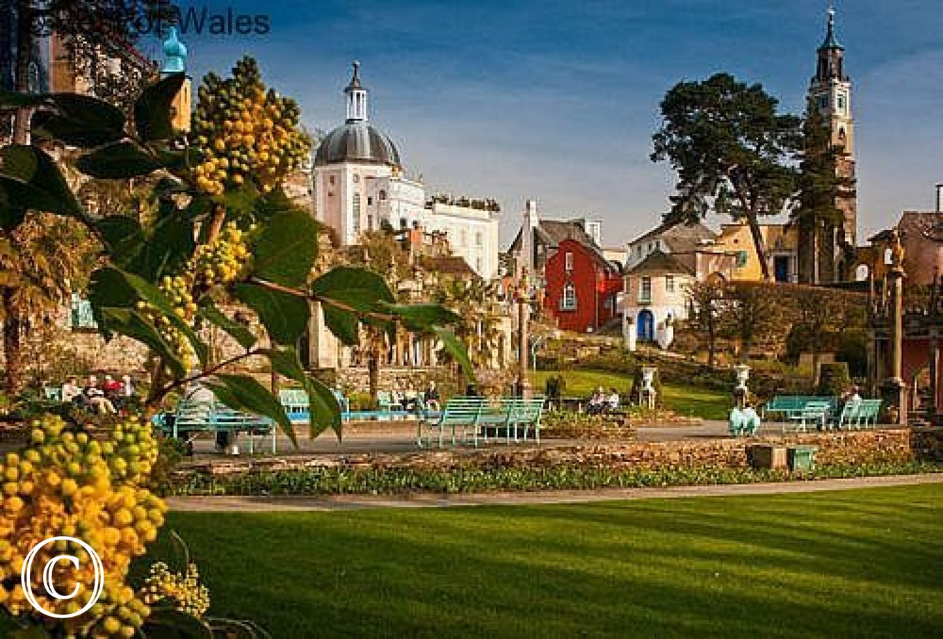 The classic Italian village and gardens of Portmeirion, 10 miles away