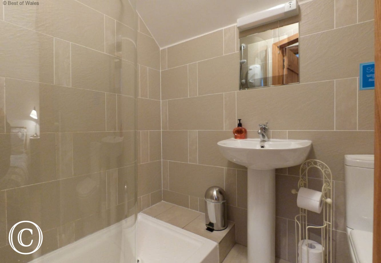 En-suite shower room with shower, basin toilet & heated towel rail