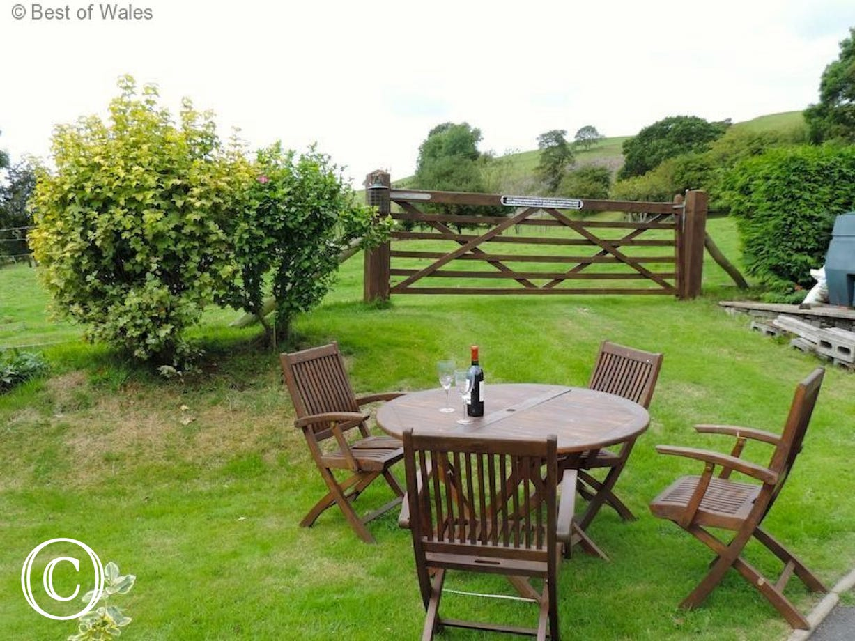 Dining out in the garden with views of the countryside