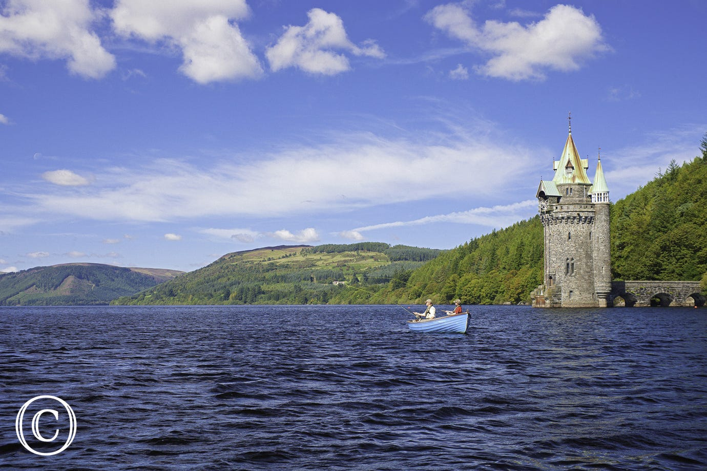 Enjoy a relaxing day fishing at Lake Vyrnwy - or walking or cycling around its shores