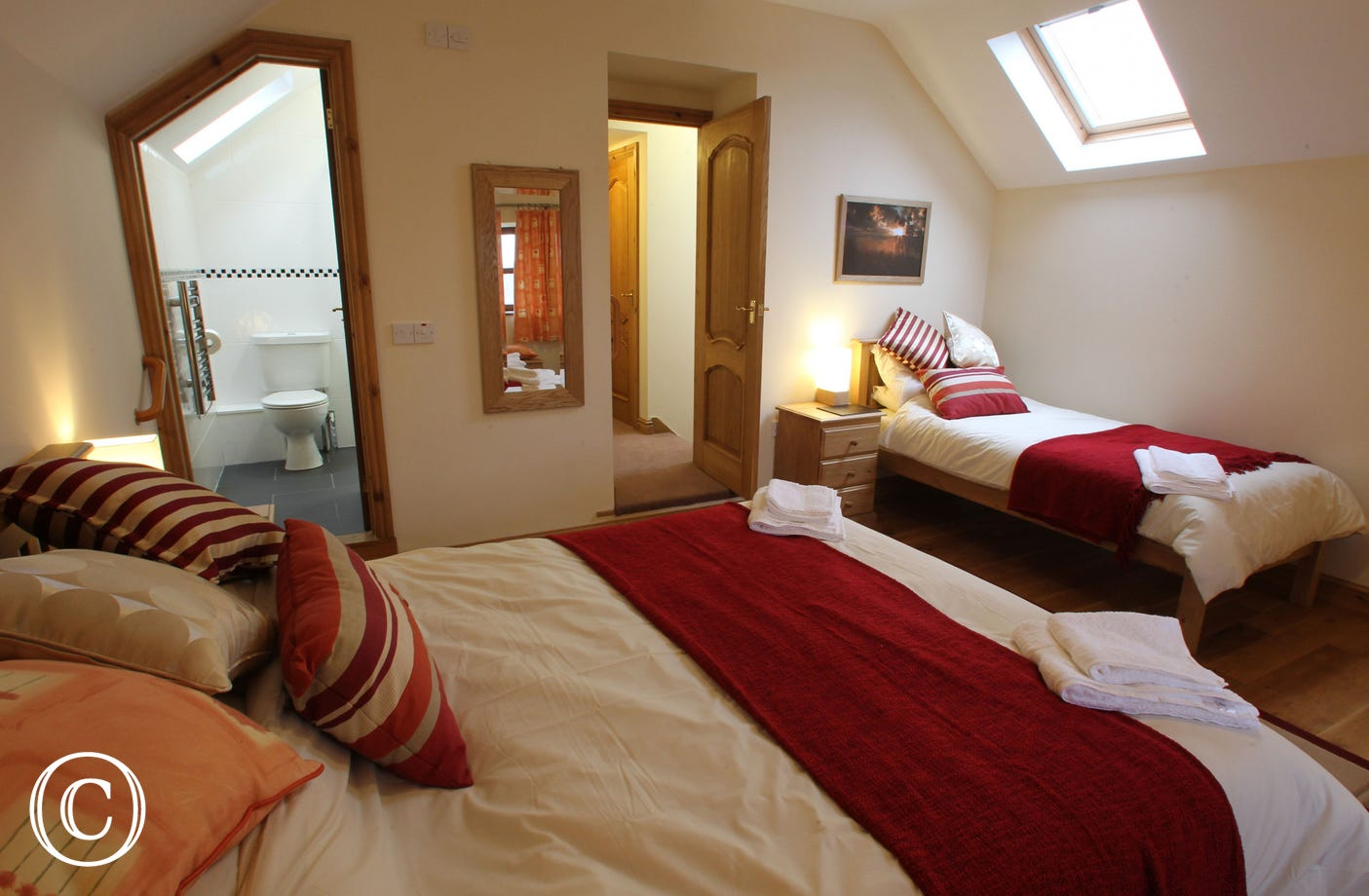 Family bedroom and en-suite at this 5 star cottage near Aberystwyth
